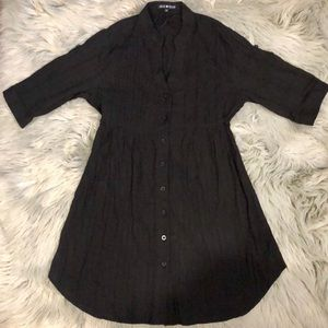 Pleated Black Button Down Shirt Fall Dress S 🍁👢